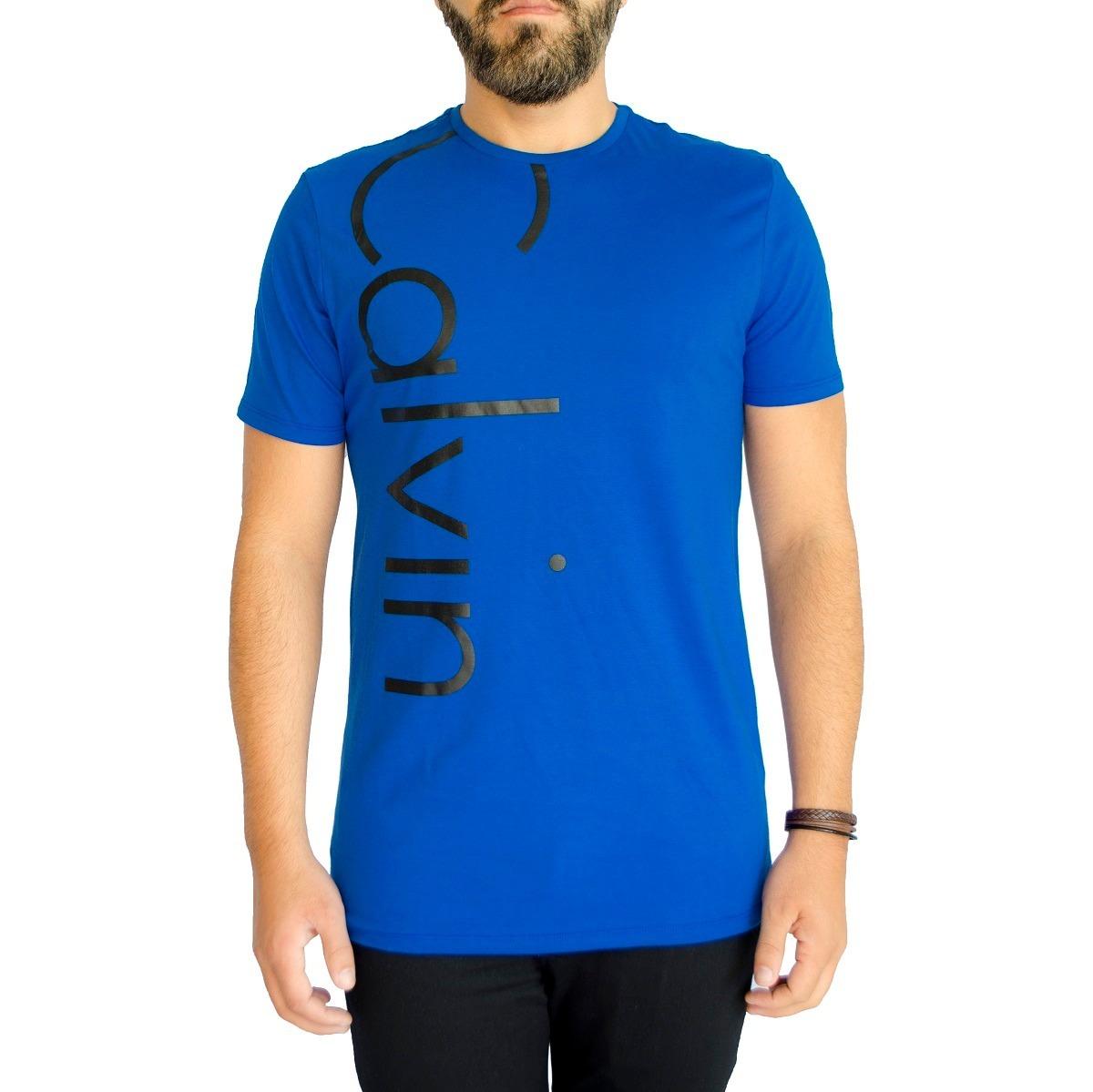 camisa camiseta calvin klein jeans ck masc emborrachada azul. Carregando  zoom. 713decc9277