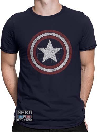 camisa, camiseta capitão américa escudo desgastado