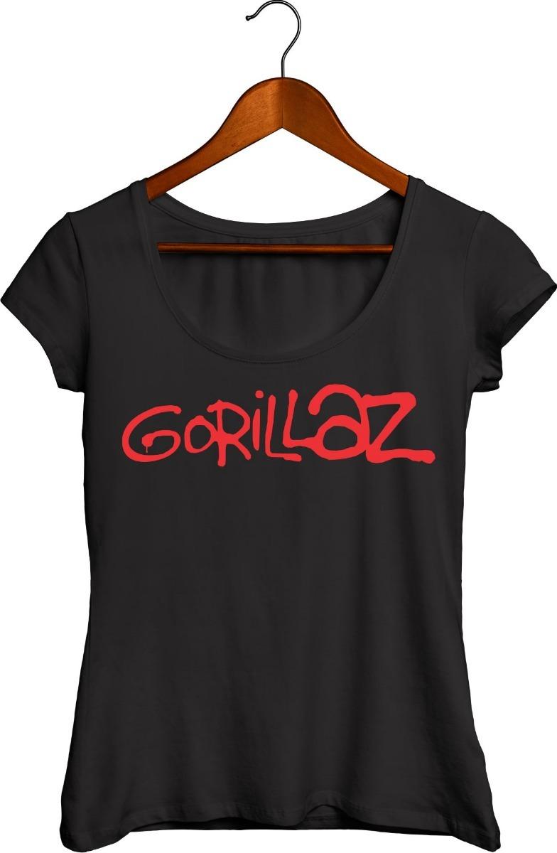 camisa camiseta de rock feminina gola canoa gorillaz. Carregando zoom. 26f19c084251f
