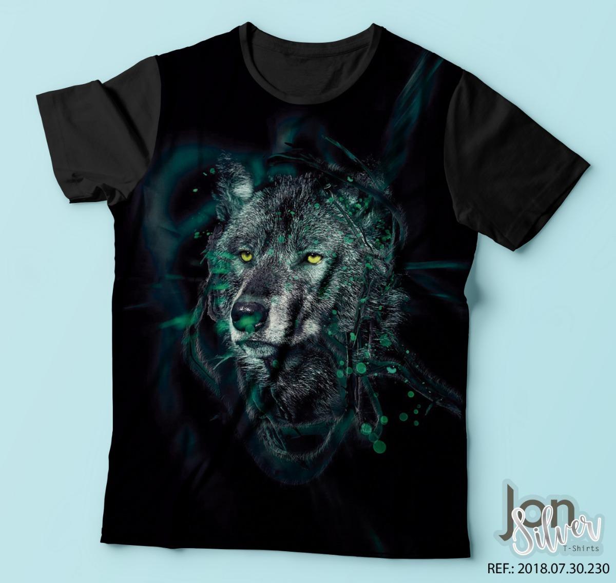 bb1849333 camisa camiseta estampada lobo negro colorido moda. Carregando zoom.