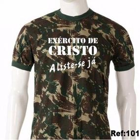 07e065729 Camisa Camiseta Evangélica Camuflada Exército De Cristo