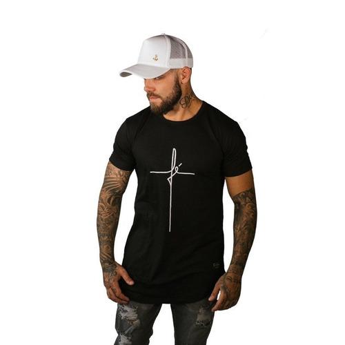 camisa camiseta fé longline oversized masculina top
