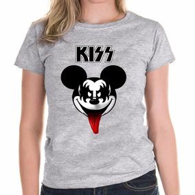 f179d63c6e Camisa Camiseta Feminina Baby Look Mickey Mouse Banda Kiss