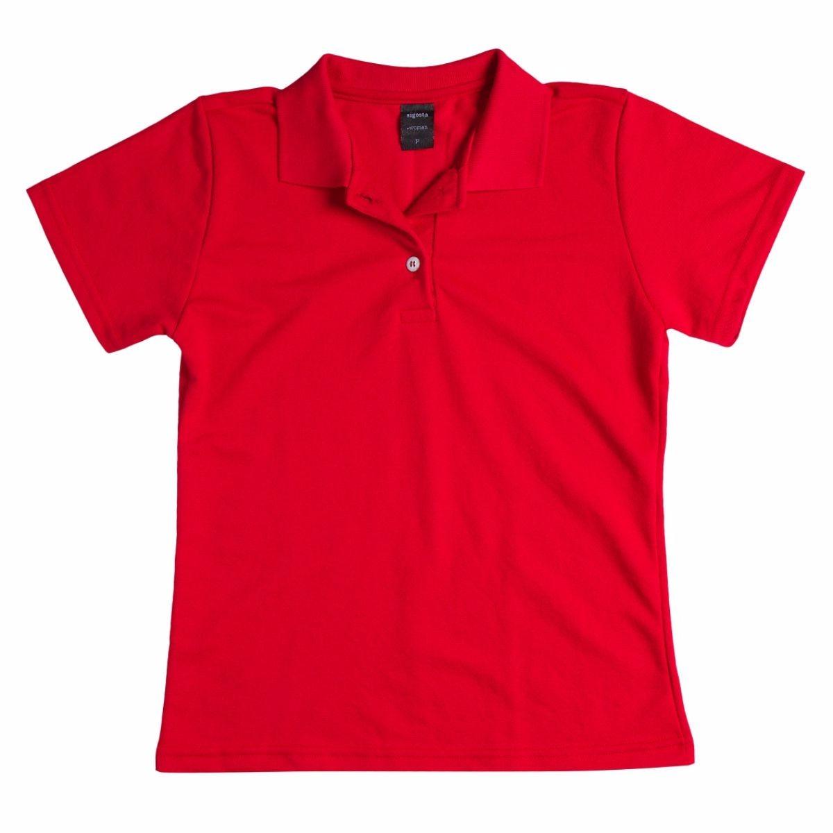 6c11dfb433 camisa camiseta feminina polo modelo baby look vermelha. Carregando zoom.