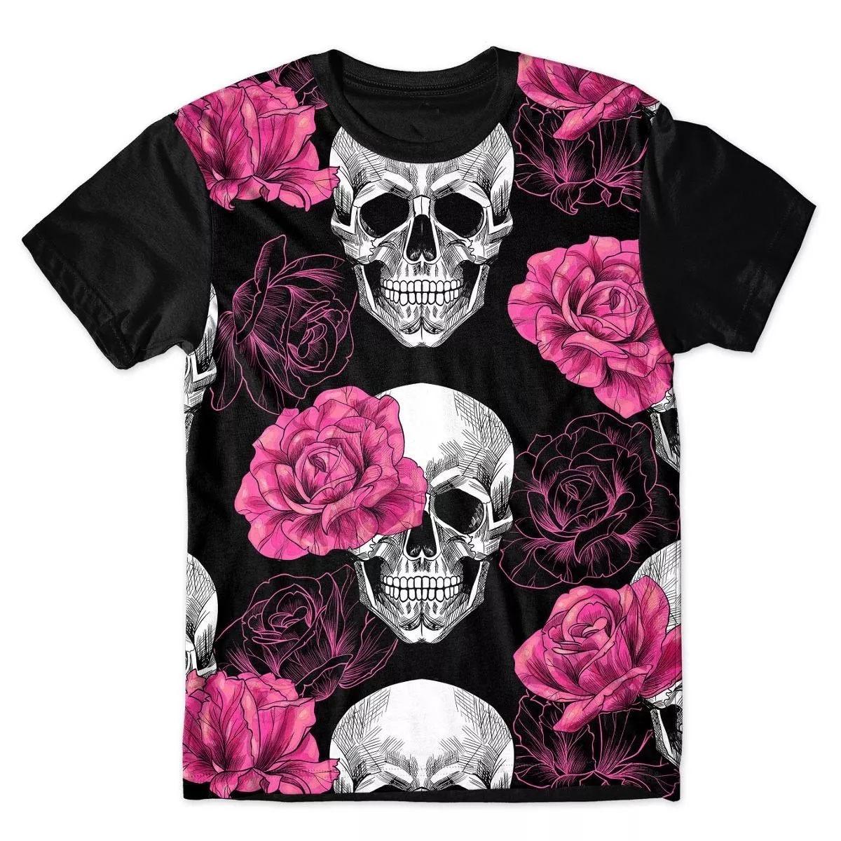 7d4c36d1e4106 camisa camiseta full caveira rosas rock flores. Carregando zoom.