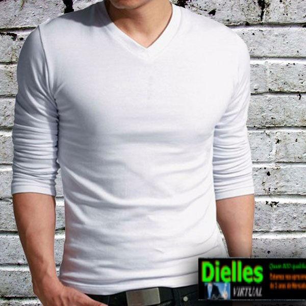 fcd8404c67 Camisa Camiseta Gola V Rasa Masculina Blusa Viscolycra - R  45
