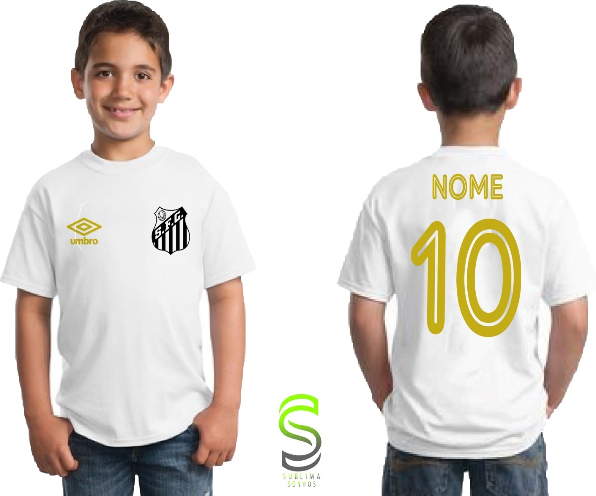 camisa camiseta infantil santos personalizada. Carregando zoom. 60a77f35bdcb4