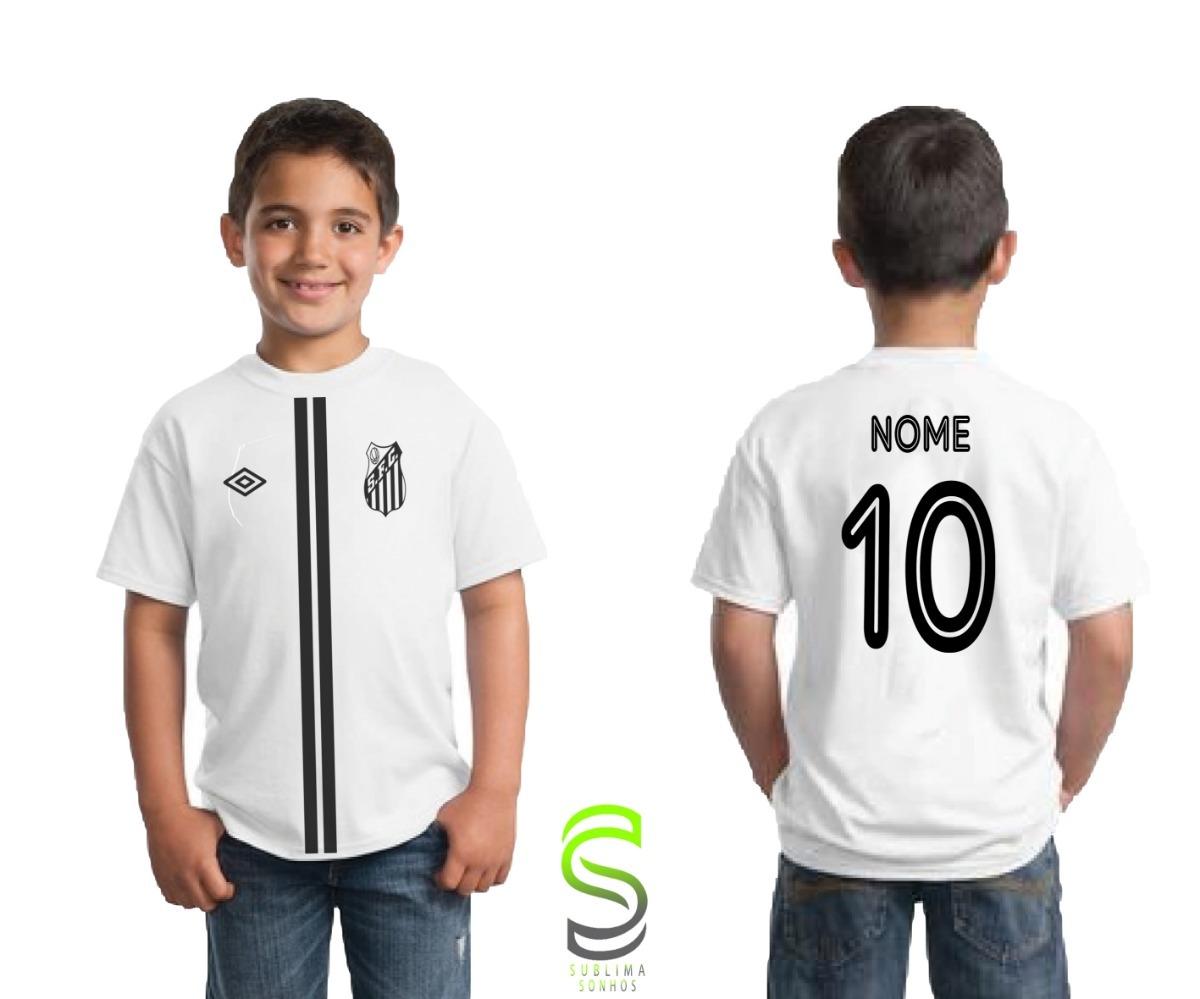 camisa camiseta infantil santos personalizada ref 01. Carregando zoom. 7298da4a9c02c