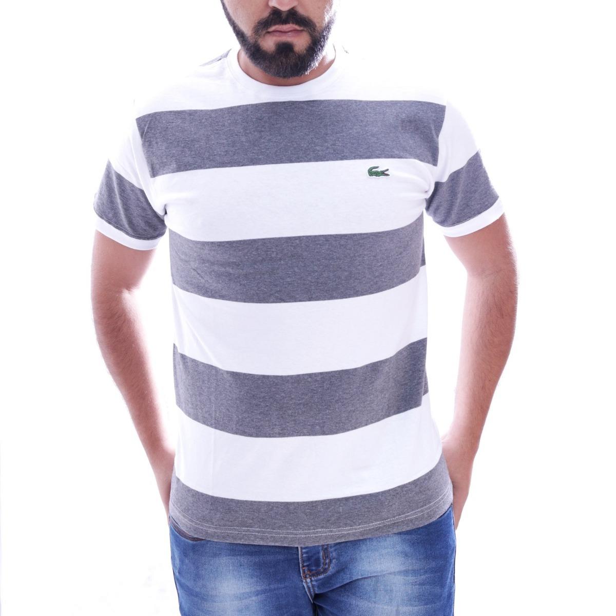 c173c328bce5a Camisa Camiseta Lacoste Listrada Masc Branco Cinza Original - R  89 ...