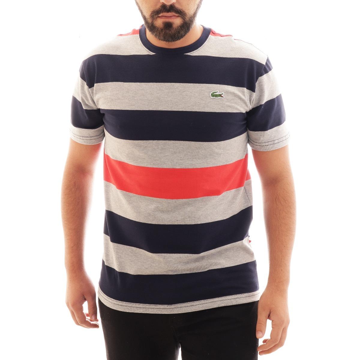 camisa camiseta lacoste listrada masc cinza azul original. Carregando zoom. 1e90a43311
