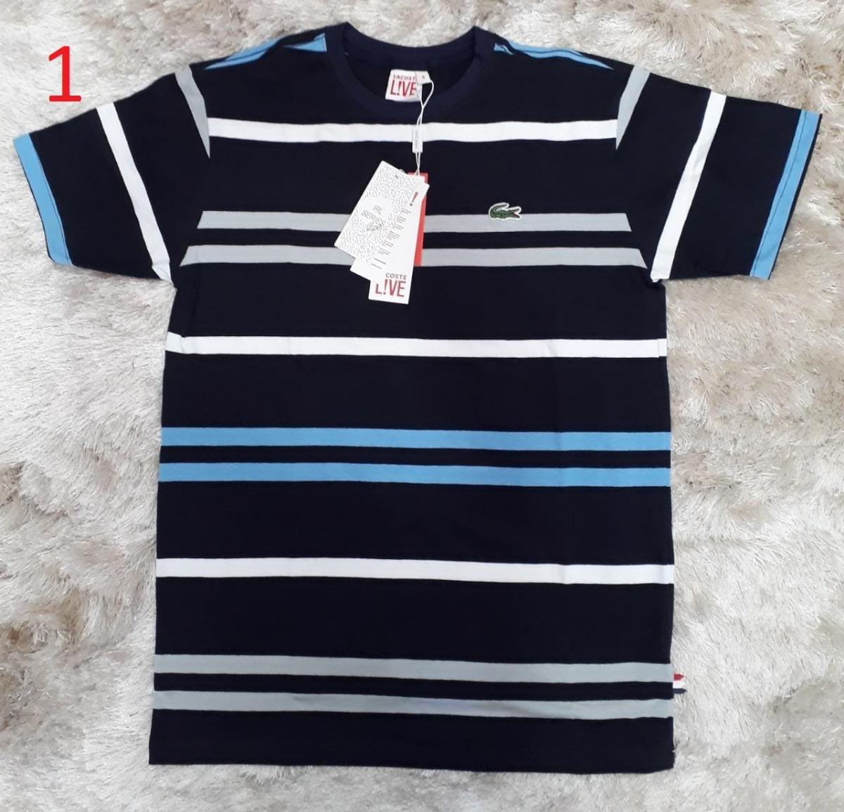 camisa camiseta lacoste listrada masc preto azul bb original. Carregando  zoom. 88f6fdded0