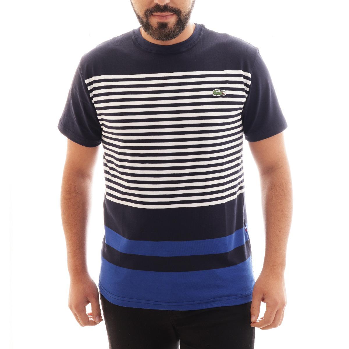 camisa camiseta lacoste listrada masc preto azul original. Carregando zoom. 779e21e98e