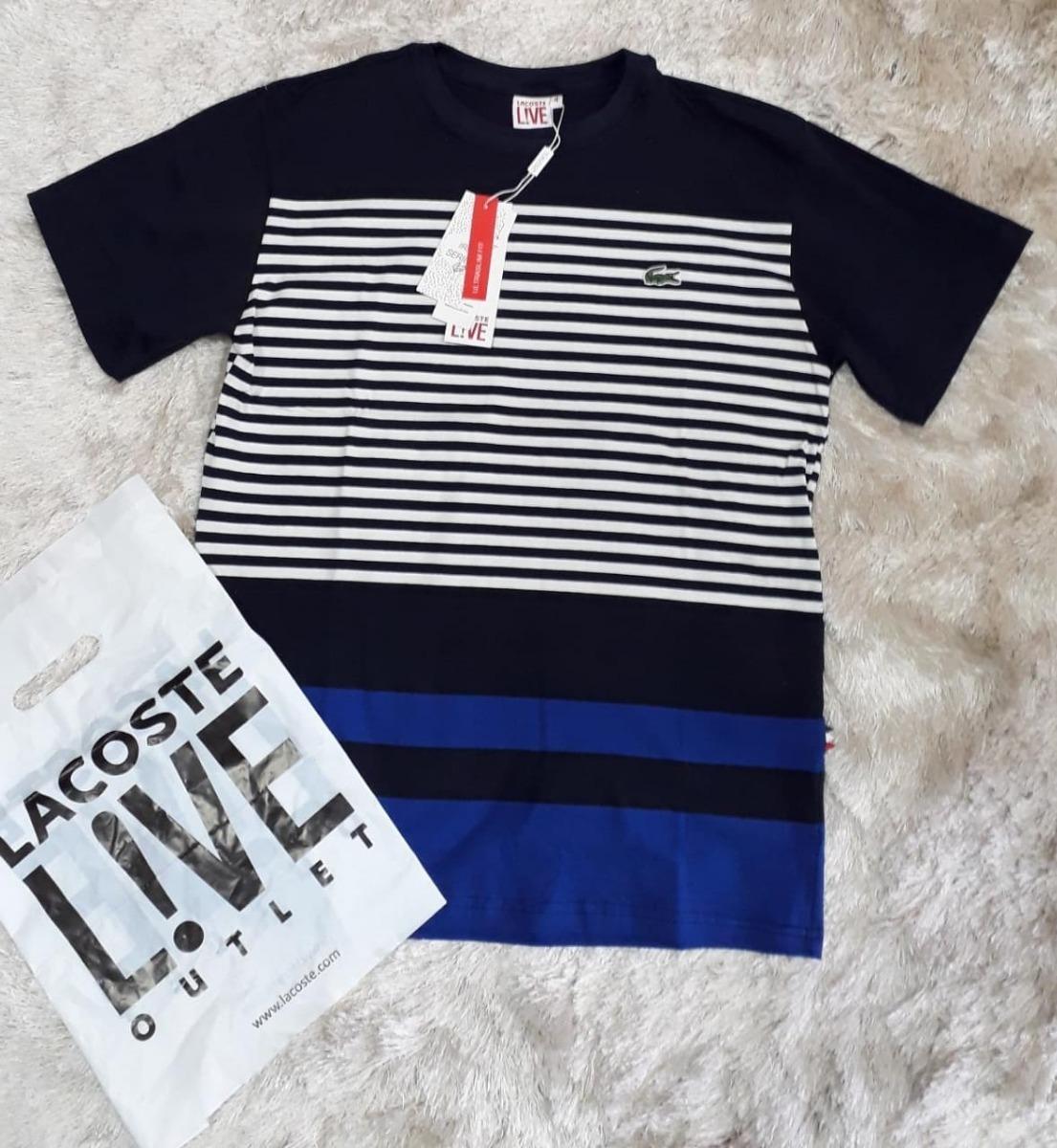 df383363ca86a camisa camiseta lacoste listrada masc preto azul original. Carregando zoom.