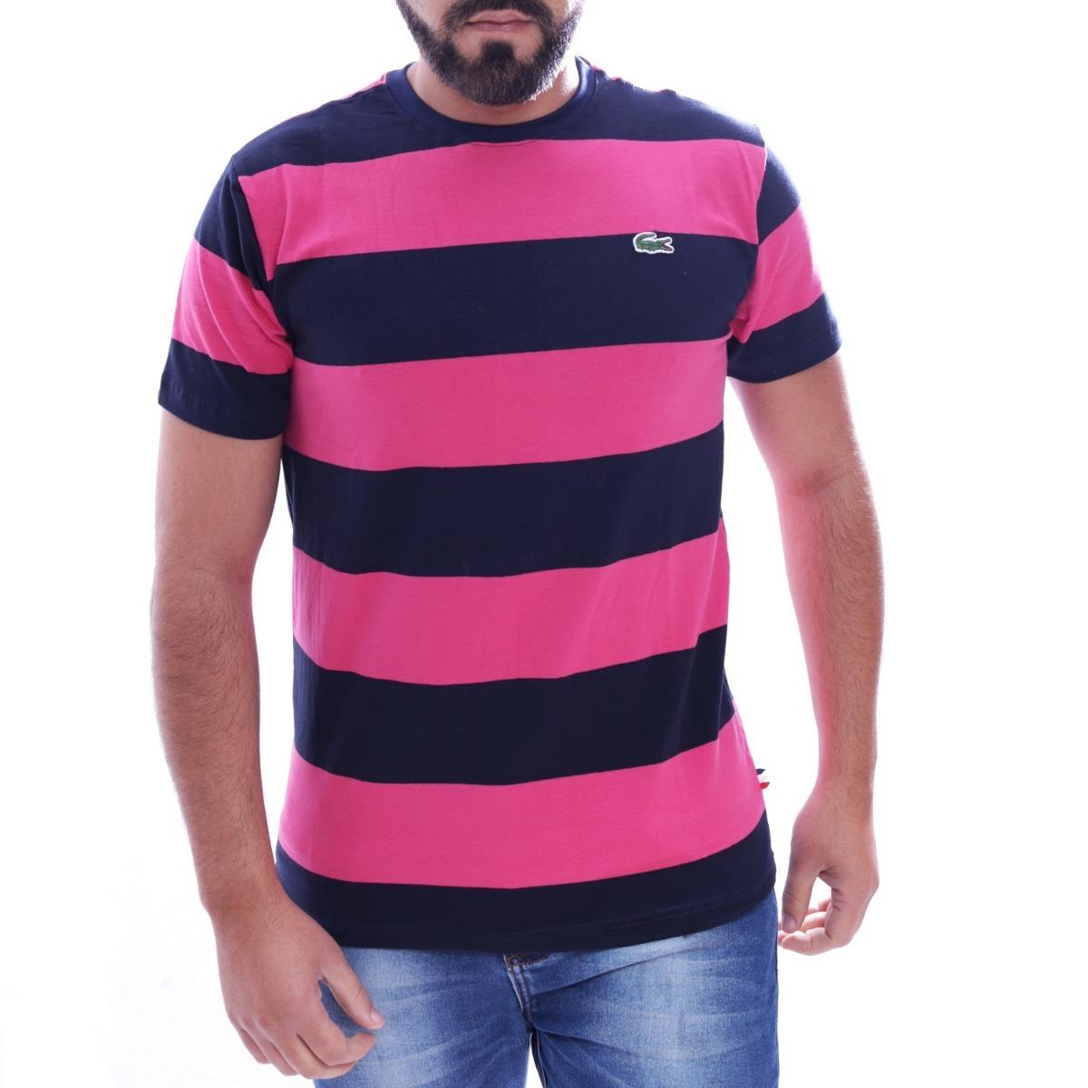 d985374bb5e camisa camiseta lacoste listrada masc preto pink original. Carregando zoom.