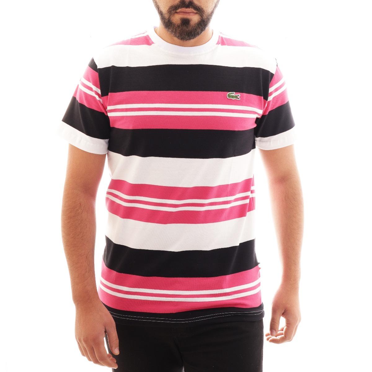 78ee22ac96a19 Camisa Camiseta Lacoste Listrada Masc Rosa Branco Original - R  89 ...