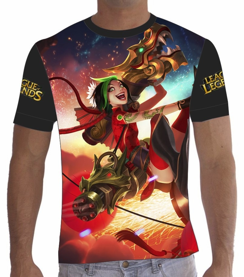 acbf56a472 camisa camiseta league of legends lol jinx fogos de artífici. Carregando  zoom.