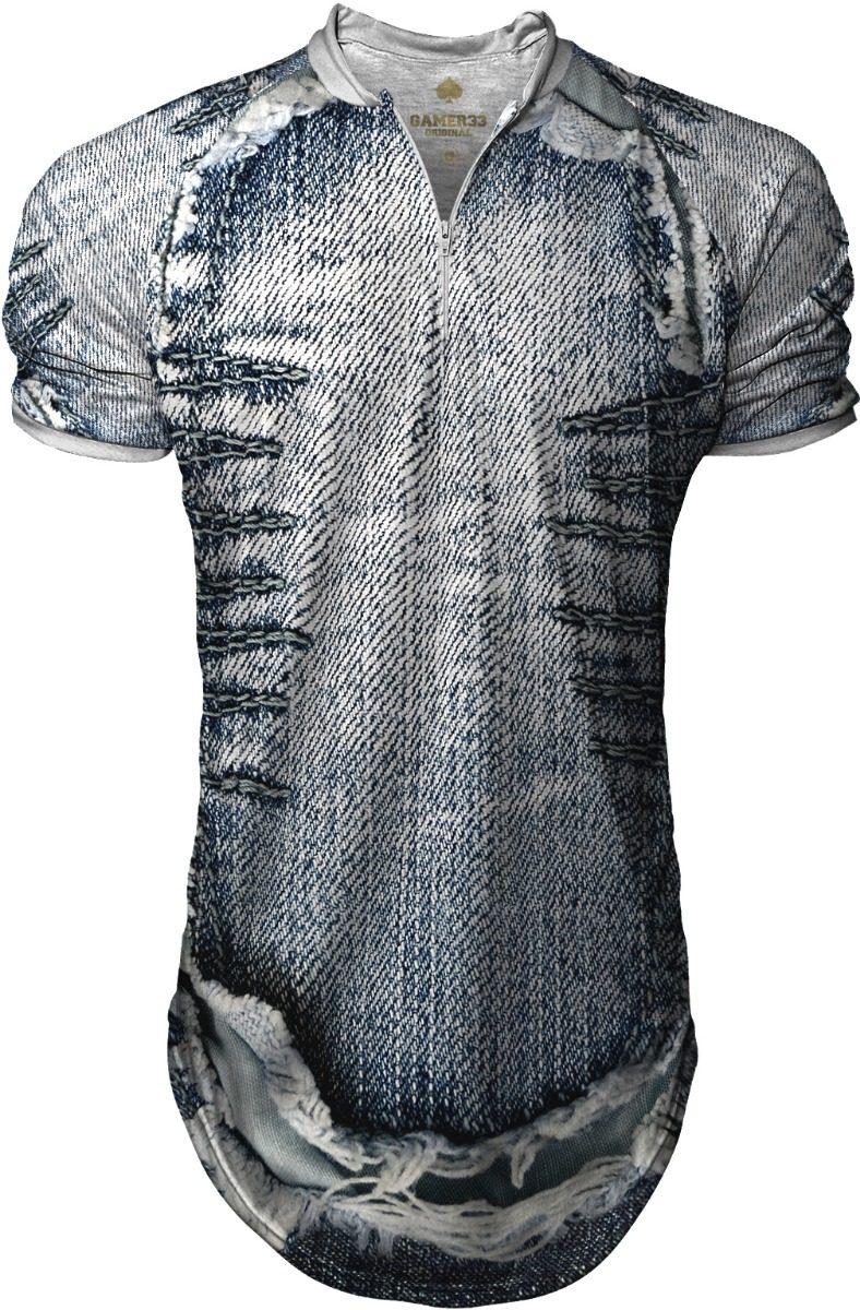 d3257854bd camisa camiseta longline oversized gola polo estampado jeans. Carregando  zoom.
