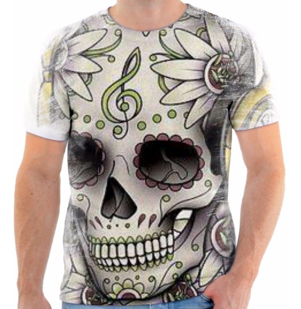 Camisa Camiseta Musica Caveira Skull Flor Desenho Linda
