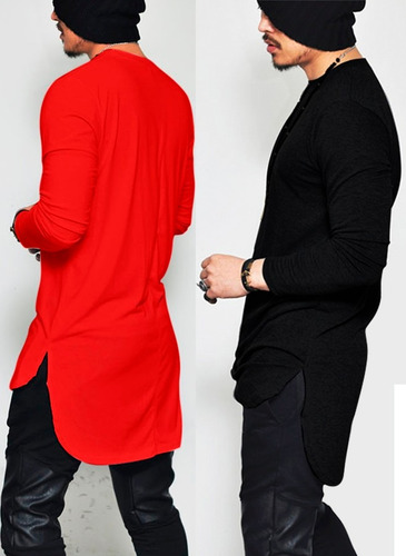 camisa camiseta oversized longline masculina la slim fit top