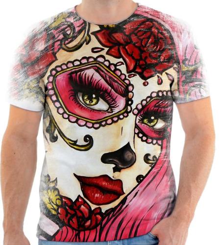 Camisa Camiseta Personalizada Caveira Mexicana Batom - R  40 610408b4105