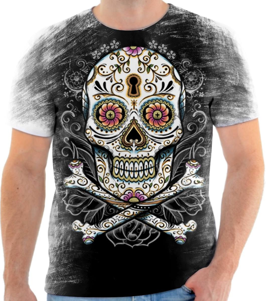 camisa camiseta personalizada caveira mexicana fechadura. Carregando zoom. a9d6ddc4357