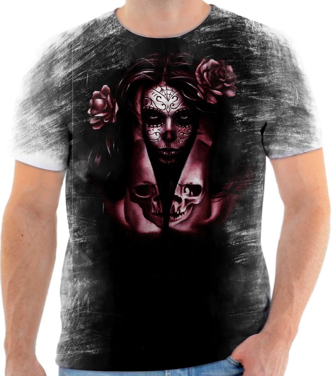 Camisa Camiseta Personalizada Caveira Mexicana Roxa - R  39 6ac3fd28d43