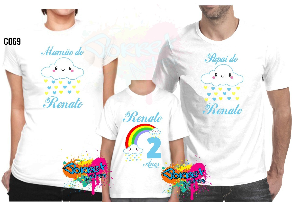 500e224cf Camisa Camiseta Personalizada Festa Chuva De Benção 3 Pçs - R  64
