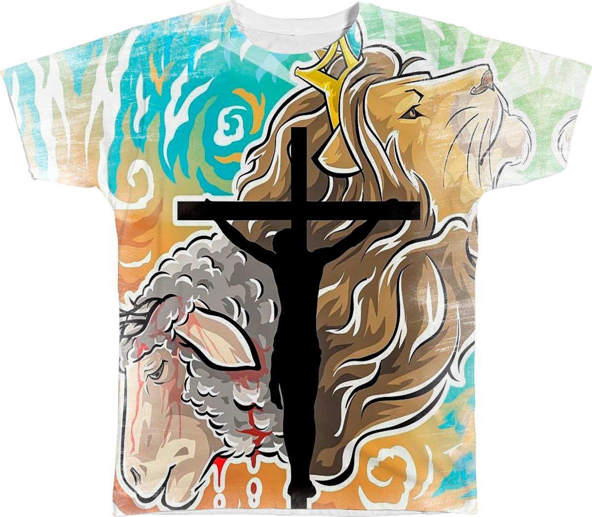 Camisa Camiseta Personalizada Jesus Cruz Cordeiro E Leao R 48