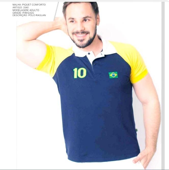 ... 7f5449041af Camisa Camiseta Polo Brasil Masculina C bandeira Bordada -  R 97 91367363cb20e