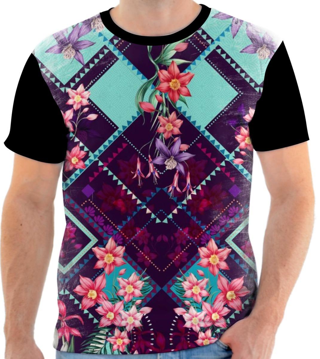 Camisa Camiseta Preta Estampa Floral 06 - R  59 ec6295728d4a2