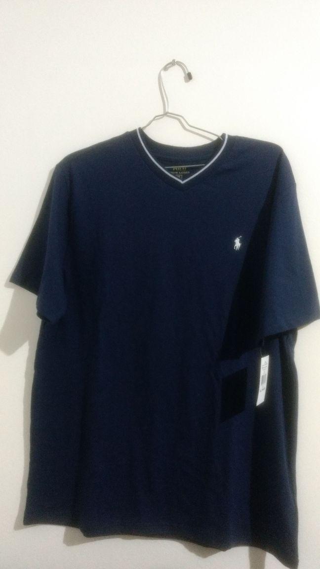camisa camiseta ralph lauren azul m - gola v. Carregando zoom. 3a75fbc62a2