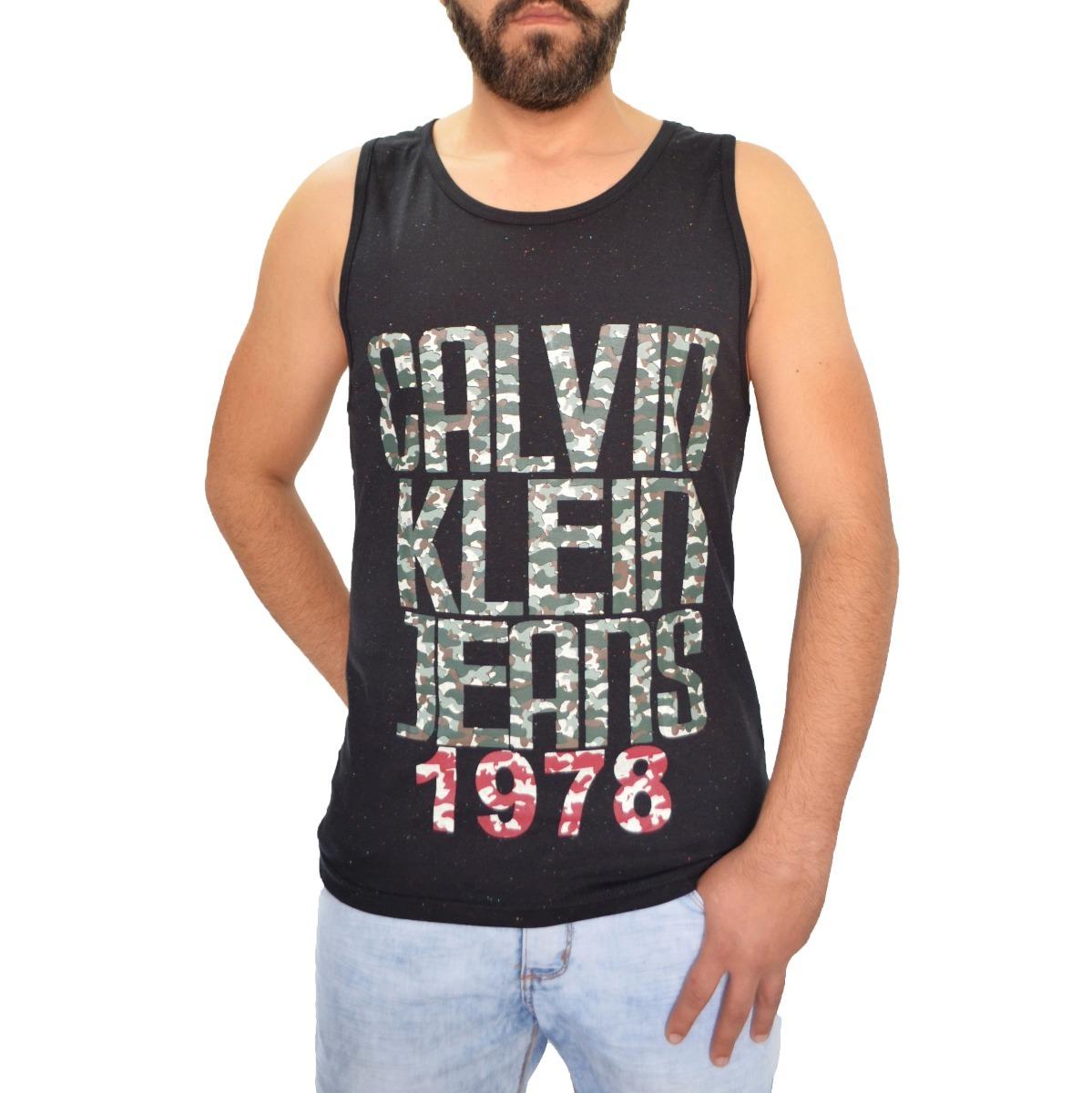 camisa camiseta regata calvin klein estampa camuflada preta. Carregando zoom . 4448c75d8f5