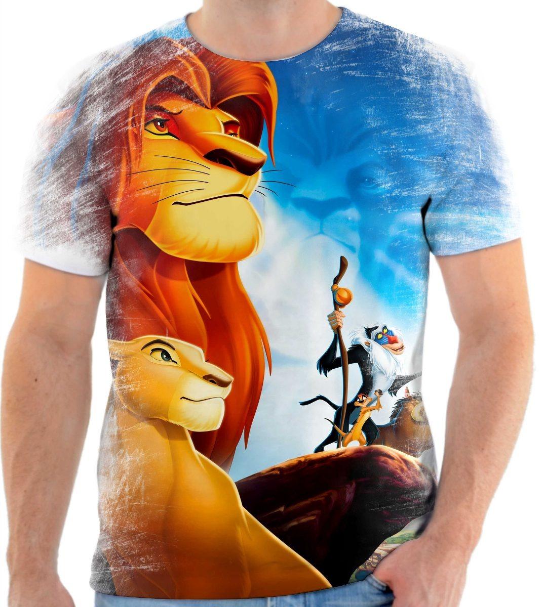 camisa camiseta rei leão timão e pumba desenho disney 3 r 44 90