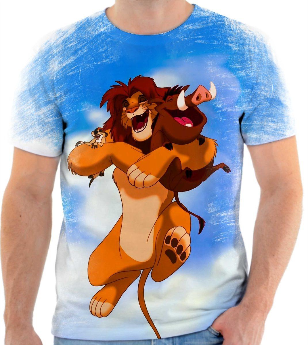 camisa camiseta rei leão timão e pumba desenho disney 4 r 49 90