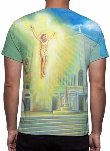 camisa, camiseta santo padre pio - estampa total