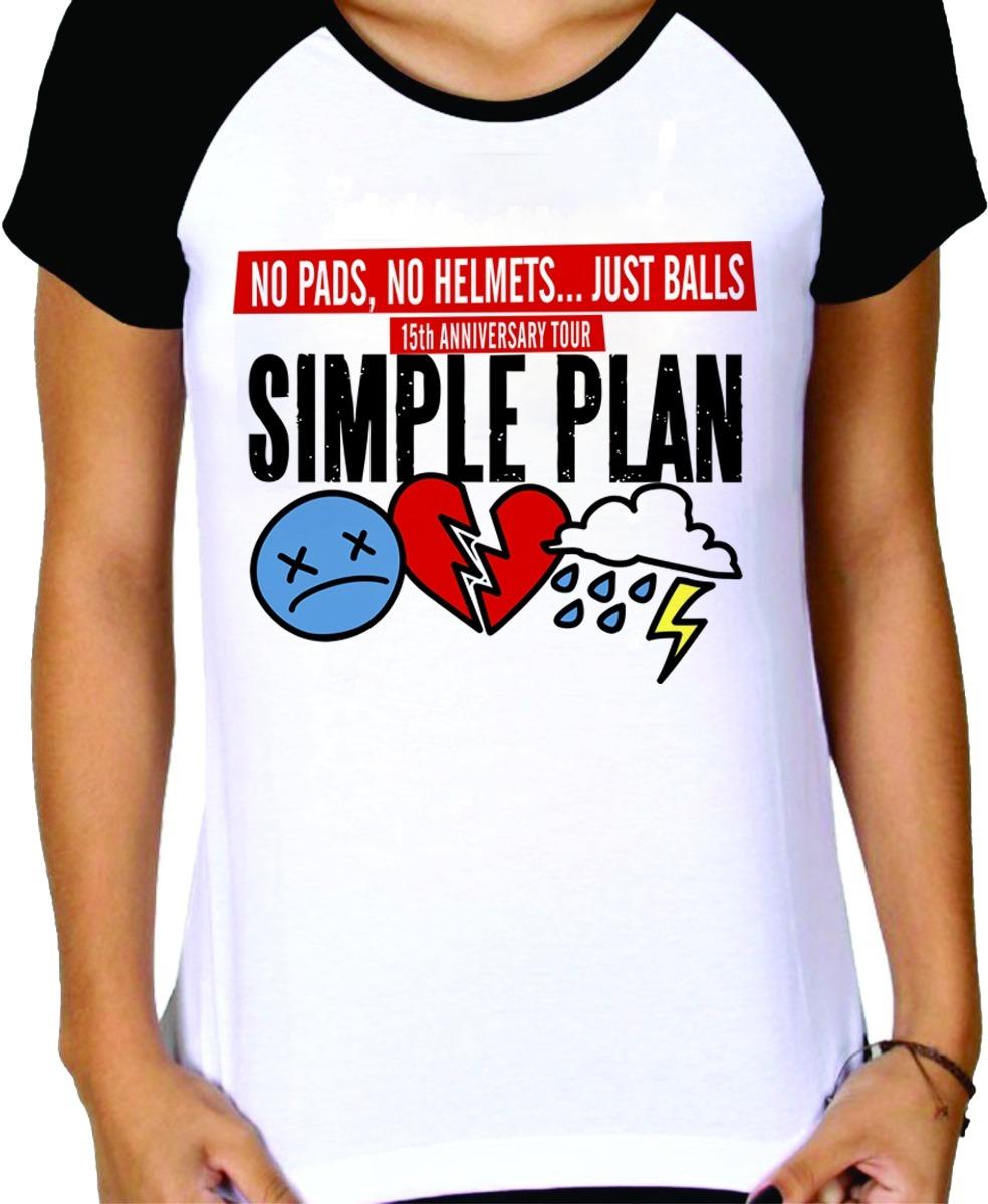 camisa camiseta simple plan tour brazil - feminina raglan. Carregando zoom. 0638619e964