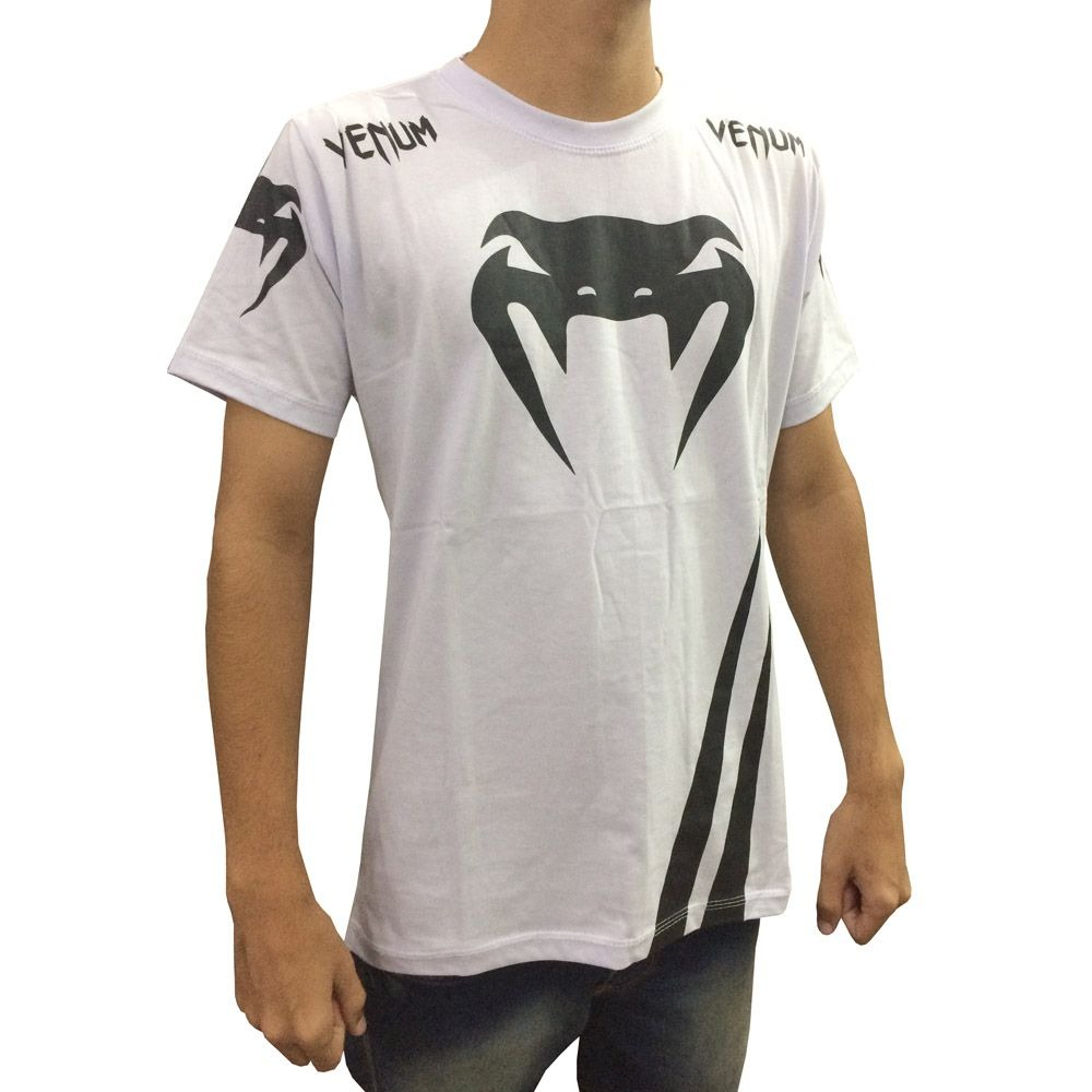 Camisa Camiseta Venum Mma Jiu Jitsu Muay Thai Branco Preto R