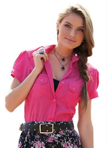 camisa camisete pink manga curta - linda!!!