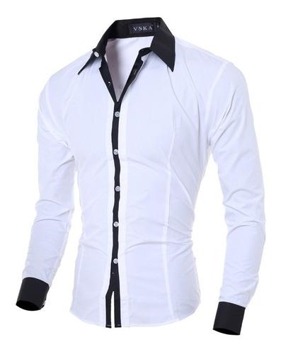 camisa camisete slim manga longa casual envio imediato