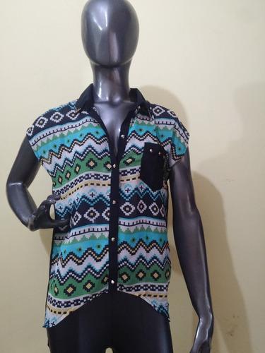 camisa camisola larga gasa con tachitas- promo/ liquidacion
