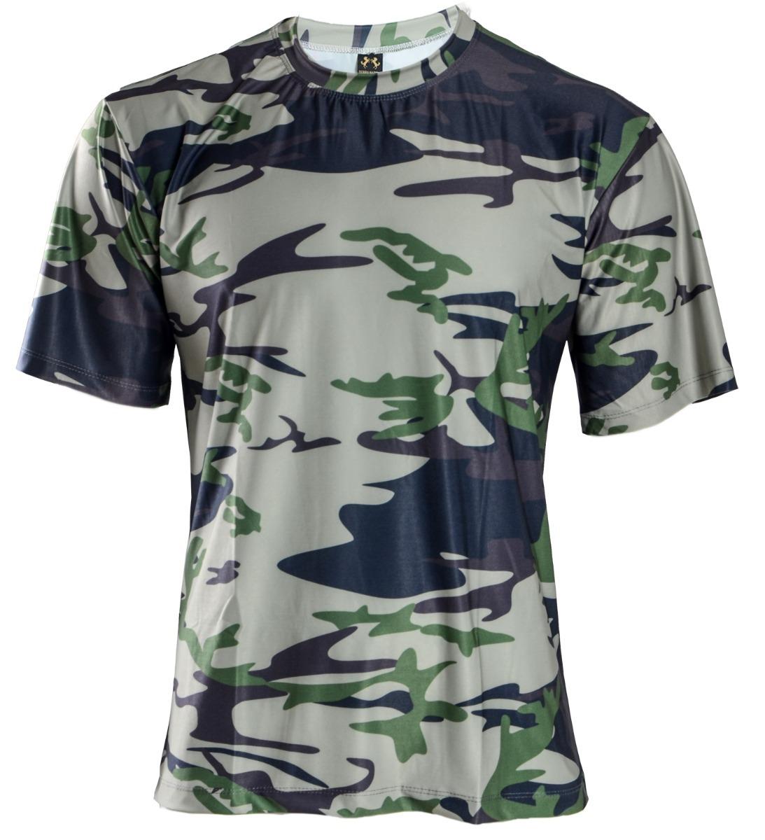 Camisa Camuflada Manga Curta Proteção Uv 50+ - R  64 dcae048d7a7b9