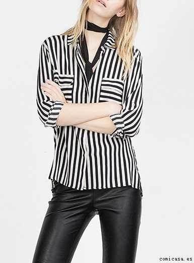 ccb824eccb572 Camisa Casual De Vestir Rayas Negra Y Blanca Mujer Talle M -   800 ...