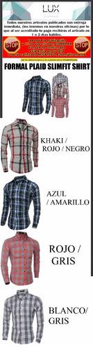 camisa casual elegante plaid slim fit shirt entrega inmediat