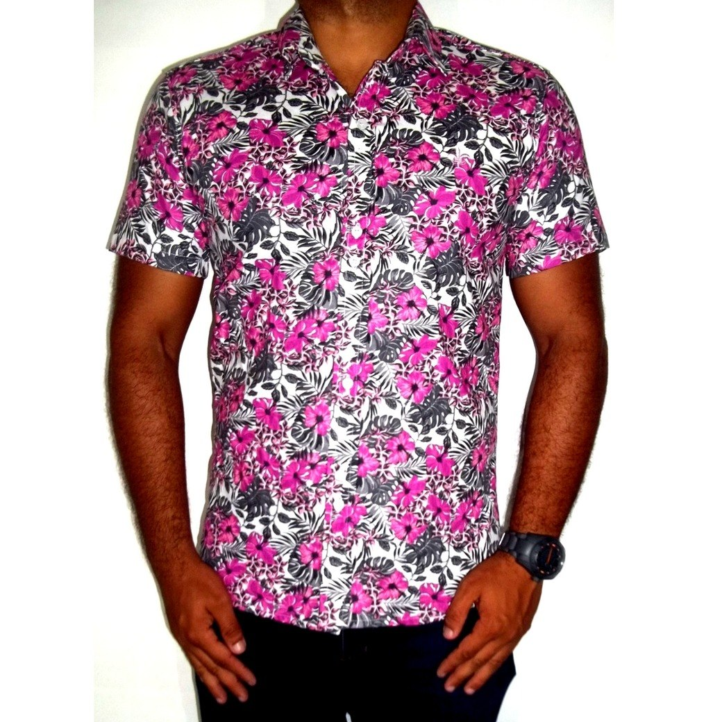 Camisa Masculina Estampada Floral Casual Slim Manga Curta - R  68 c75be1cd674