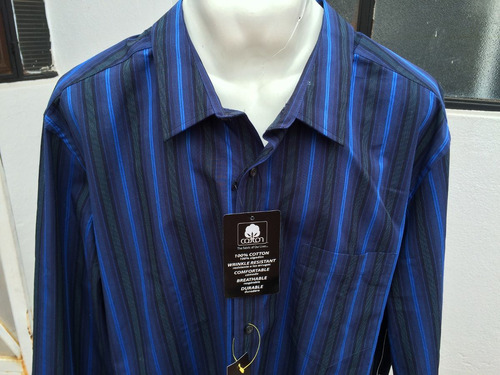 camisa casual manga larga george tallas extras 2xl 50/52