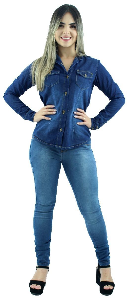 c368cd4d0 Camisa Jeans Feminina Casual Social Gola Wing Manga Longa - R  60