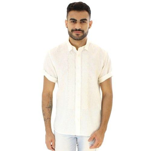 dedc90b823 Camisa Casual Masculina Tradicional Linho F00704a Creme - R  149