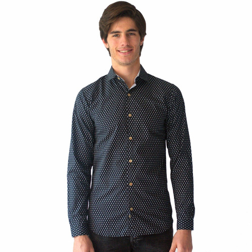 camisa casual negra con detalle blanco slim fit rack & pack