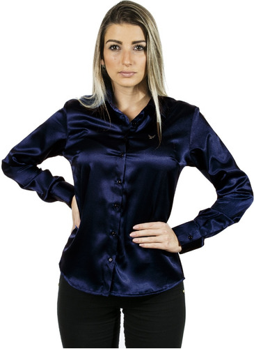 camisa cetim c/ elastano anabela feminina  - camisete azul