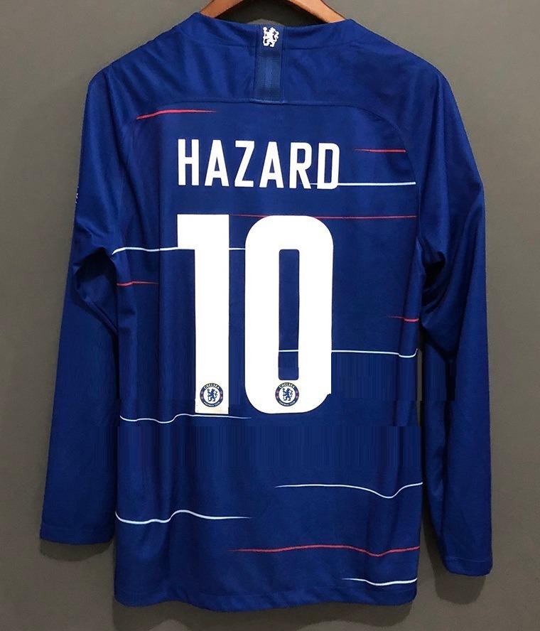 camisa chelsea home hazard   10 2018 manga longa. Carregando zoom. 2e3870cc3a686